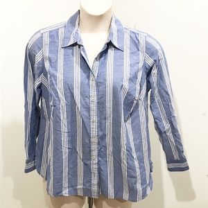Talbots Size 16WP Shirt Blue White Stripe Plus